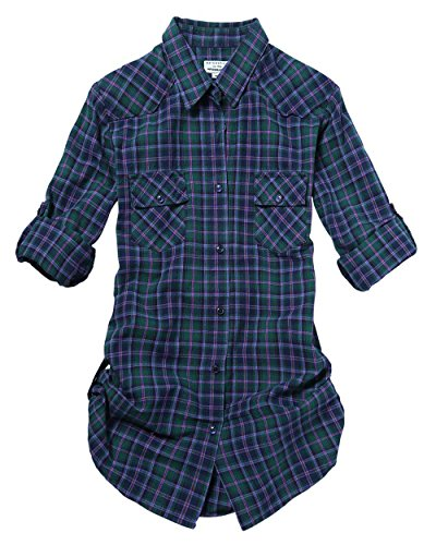 Match Women's Long Sleeve Cotton Plaid Shirt (Large, 2022 Check#1)