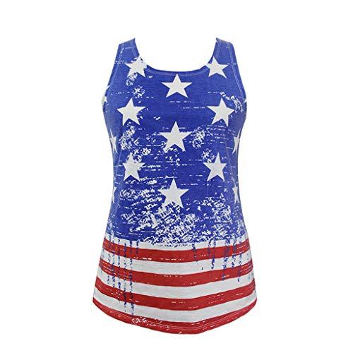 Loosebee Women's American Flag Vest July 4th Patriotic Print Shirt Shirt Vest