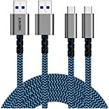 USB 3.0 to USB C Charging Cable,Type C to USB Cord(5ft, 2 Pack),XXQCNCT Anti-break Braided QC3.0 3.8A Fast Charger Cable for Samsung S7/S8/S9/Note 8,LG V30/G6/G5,HTC U11/U12+,Nintendo Switch (Blue)