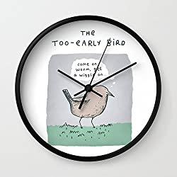 Society6 The Too-Early Bird Wall Clock Black Frame, Black Hands