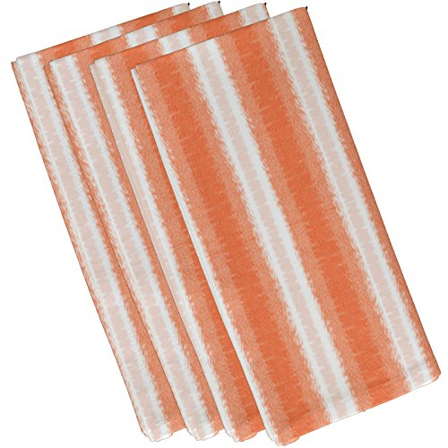 E by design N4S776O1 Sea Lines Stripe Print Napkin (Set of 4), 19'' x 19'', Orange by E by design