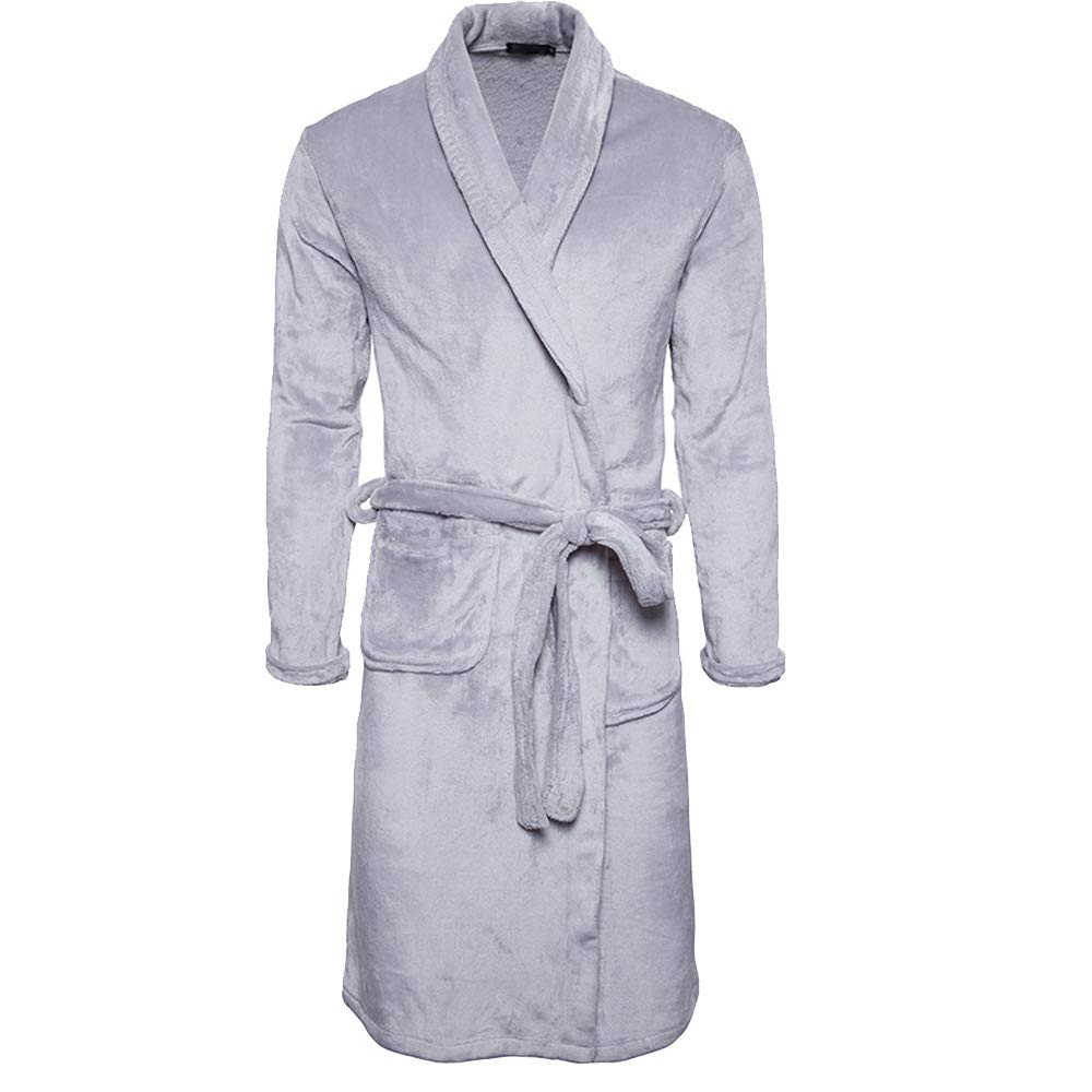OGOUGUAN Tyjtyrjty Thick Coral Velvet Robe Bathrobes (Light Gray, XX-Large)