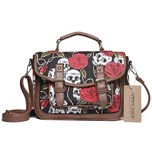 Women Satchel Bag Skull Crossbody Bag Vintage Shoulder Bag Canvas Small Handbag ()