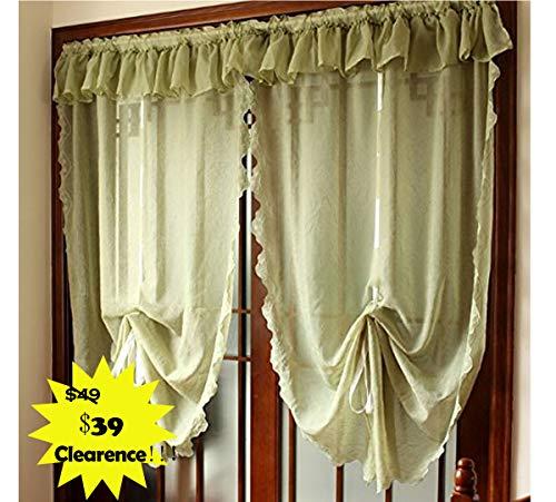 FADFAY White Green Sheer Balloon Curtains Adjustable Roman Tulle And Valance Sheer Door Curtain,1 Panel