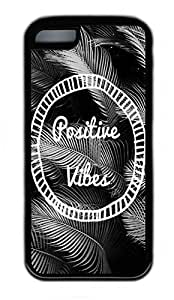 linJUN FENGiphone 4/4s Case, Personalized Protective Rubber Soft TPU Black Edge Case for iphone 4/4s - Positive Vibes Cover