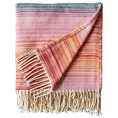 """Rivet Modern Ombre Effect 100% Cotton Lightweight Throw Blanket, 50"""" x 60"""", Warm Multi - This exquisite blanket's sunrise colors transition from dark and vivid at the bottom to light at the top. Matching tassels and an extra soft, cozy texture make it  ideal for draping over a chair in the living room or using as a lightweight blanket on your bed. 50"""" x 60"""" (including fringe) 100% Cotton - blankets-throws, bedroom-sheets-comforters, bedroom - 51aNZkS9dkL. SS400  -"""