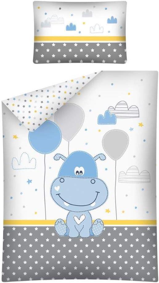 Parure de lit B/éb/é Hippo Bleu 100/% Coton 100x 135cm Bleu