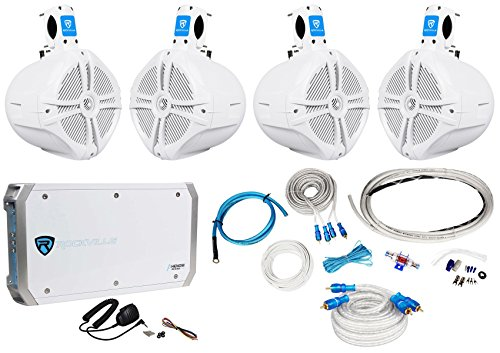 4 Rockville RWB80W 8'' Wakeboard Marine Speakers+4 Channel Amplifier+Amp Kit by Rockville