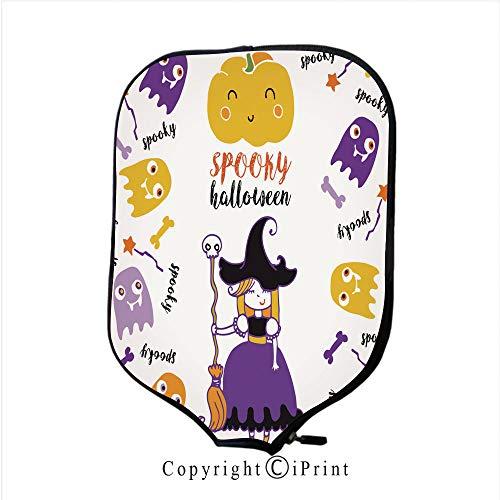 Background 3D Printed Decorative Neoprene Pickleball Paddle Racket Cover,Cute Halloween Kids Set Cartoon Vector Illustration(Size:8.23