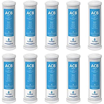 10 Pack Activated Carbon Block ACB Water Filter Replacement - 5 Micron, 10 inch Filter - Under Sink and Reverse Osmosis System