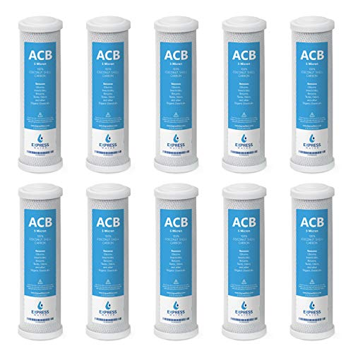 10 Pack Activated Carbon Block ACB Water Filter Replacement - 5 Micron, 10 inch Filter - Under Sink and Reverse Osmosis System ()