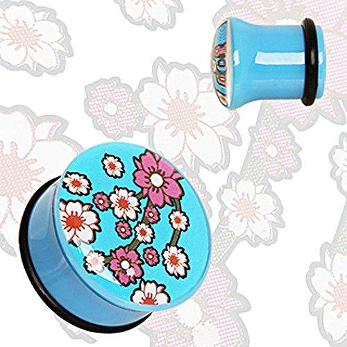 Blue UV Acrylic Oriental Flower Blossom Single Flare Plug with O-Ring - 00GA Blue - Sold as a Pair