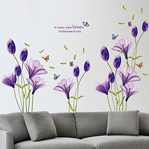 LiveGallery Beautiful Lovely Lily Flowers Wall Decals Removable DIY Butterfly Flower Vines art Decor Wall Stickers Murals for Living room TV Background Kids Gilrs rooms Bedroom Decoration (Purple) by LiveGallery