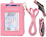 Beurlike Bifold ID Badge Holder Case Leather Credit Card Wallet Neck Lanyard (Pink)