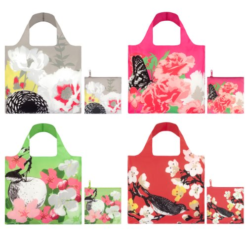 LOQI Prima Collection Pouch Reusable Bags, Multicolored, Set of 4 ()