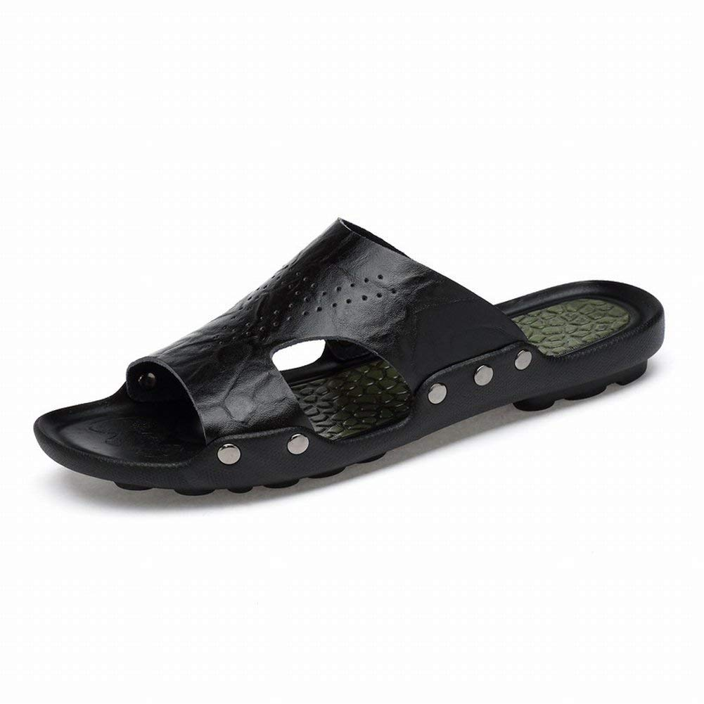 Black Fuxitoggo Men's Leather Slippers Fashion Ankle Strap Dragging Men's shoes Wall Slip Large Size Beach shoes Outdoor Sandals (color   Black, Size   39)