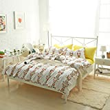 Sunflowers Bedding Sets White - MeMoreCool 100% Cotton Reactive Printing Home Textiles Yellow Flat Sheet Queen Duvet Cover NO COMFORTER 40 Threads Count
