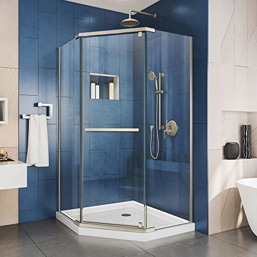 DreamLine Prism 38 in. x 74 3/4 in. Frameless Neo-Angle Pivot Shower Enclosure in Brushed Nickel with White Base Kit - Corner Entry Shower Door