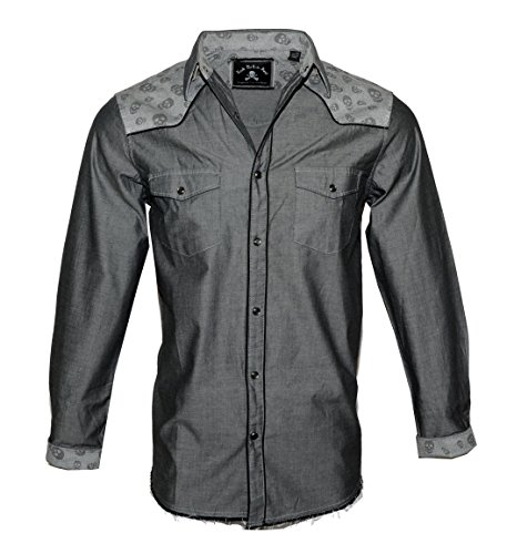 Men's Long Sleeve Skull Button Down Shirt in Charcoal Tumble n Twirl 338CH (XL) -
