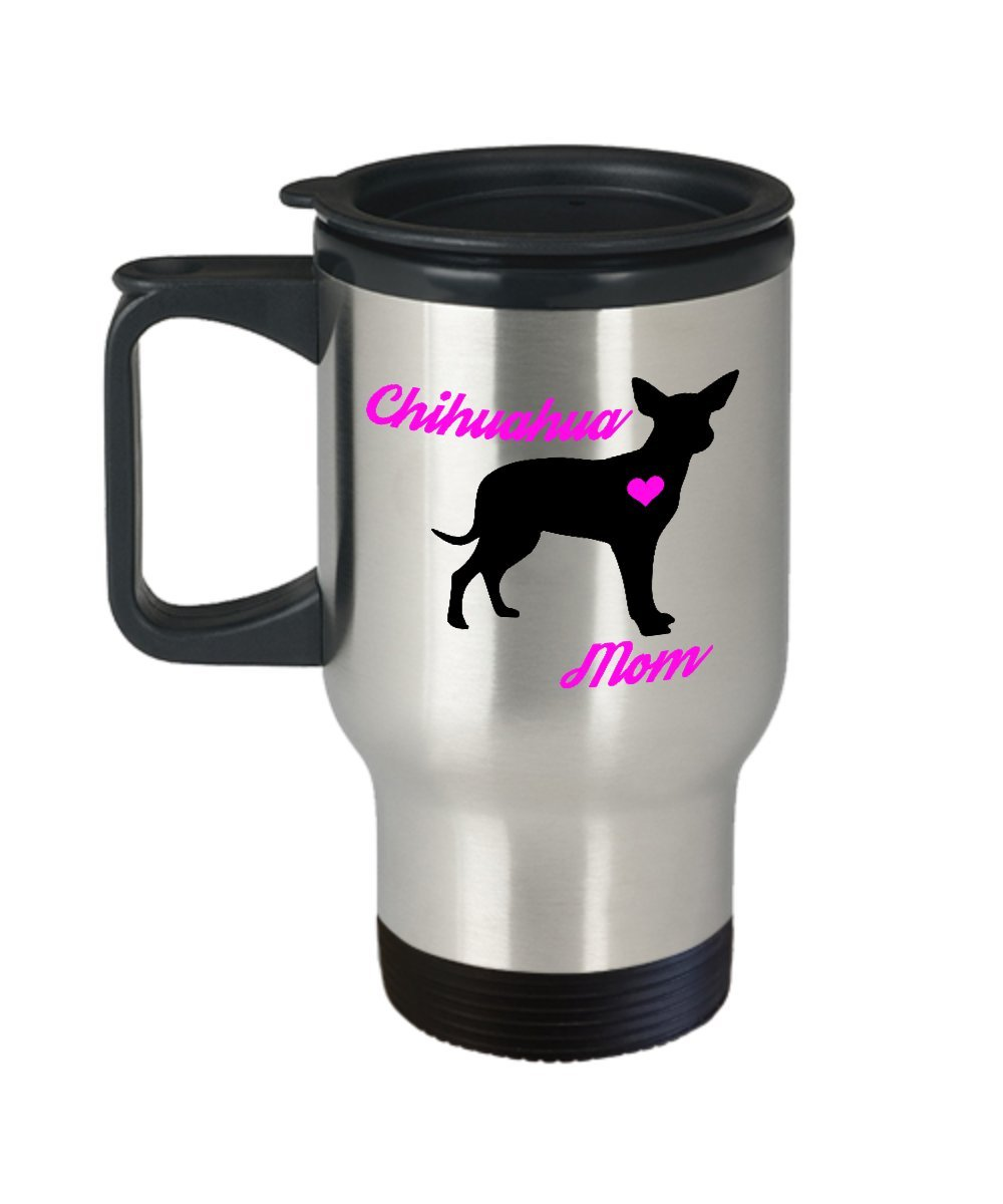 Chihuahua Mom Travel Mug - Insulated Portable Coffee Cup With Handle And Lid For Dog Lovers - Perfect Christmas Gift Idea For Women - Novelty Animal Lover Quote Statement Accessories