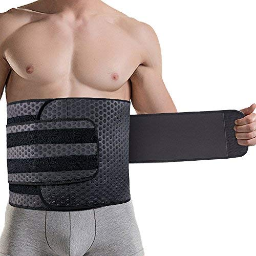 Wasit Trimmer for Men, Neoprene Ab Belt Widening Waist Trainer with Double Adjusted Straps for Fitness Weight Loss and Back Support (L/ 34-38inch)