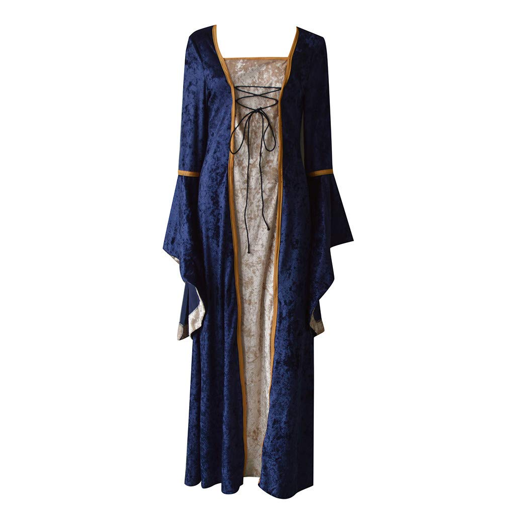 Women's Retro Medieval Tunic Gown Renaissance Gothic Cosplay Dress (L, Navy) by Rexinte (Image #2)