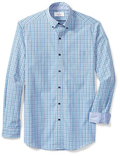 BUTTONED DOWN Men's Classic Fit Supima Cotton Button-Collar Dress Casual Shirt, Blue/Teal Check, XL 34/35