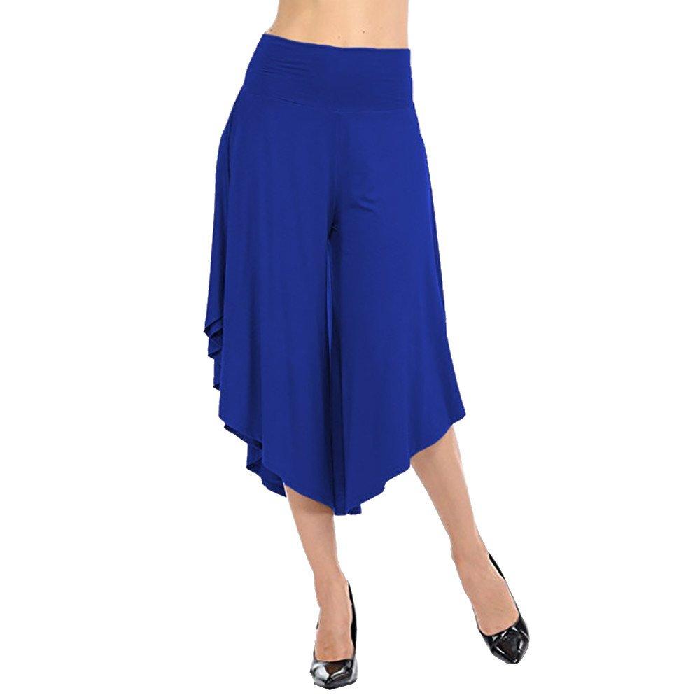 WEUIE Women Pants Clearance Sale! Women's Layered Wide Leg Flowy Pants High Waist Wide Legs Pants (XL,Blue)
