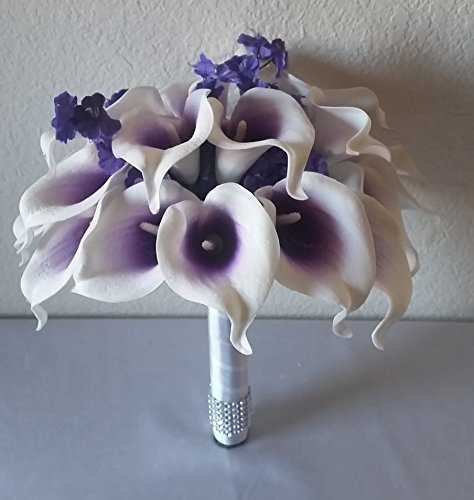 Purple Ivory Real Touch Calla Lily Bridal Wedding Bouquet...