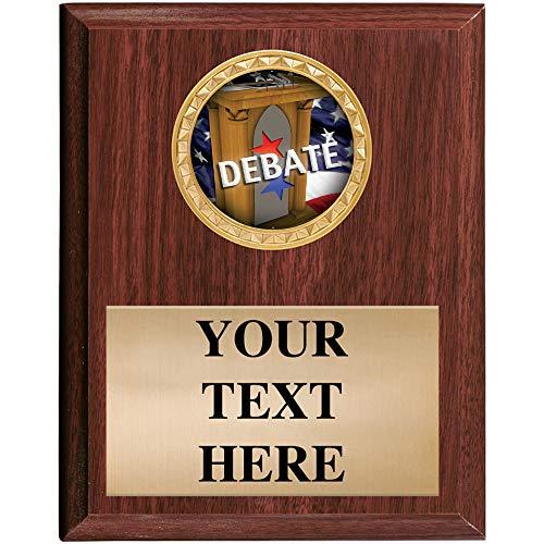 5x7 Walnut Finish Debate Plaques - Customized Debate Team Plaque Awards Prime