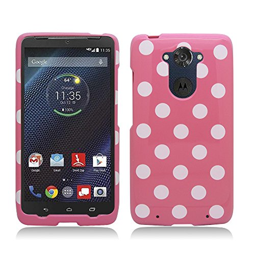 Aimo Wireless For Motorola Droid Turbo XT1254 (Verizon) Ballistic Nylon version (Black Matte) Polka Dots Image, Light Pink+White