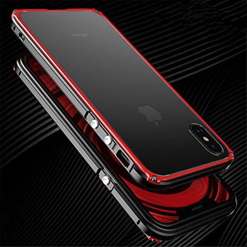 for iPhone Xs/X,DAYJOY Unique Design Guardian Series Aluminum Metal Shockproof Bumper Frame Case with Hard Plastic Back Cover for iPhone X/XS(Black ()