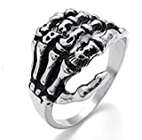 MoAndy Men's Stanless Steel Silver Biker Claw,Gothic Dragon Claw Size 8