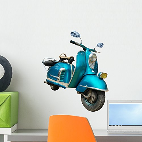 (Wallmonkeys Vintage Blue Scooter Wall Decal Peel and Stick Graphic (18 in W x 12 in H) WM105402)