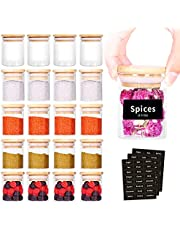 SAIOOL 20 Pack - 2.5 FL OZ (73ml) Mini Spice Jars with Wood Lid, Easy to Clean-BPA Free & Dishwasher Safe -Try filling with Spices, Herbs,Beans, Gifts, Wedding Party Favors, DIY and more