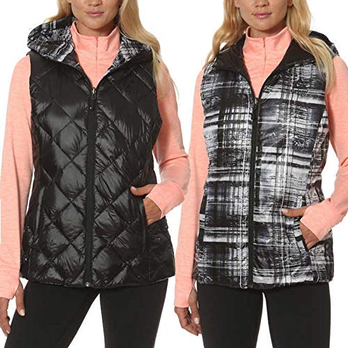 Embroidered Womens Quilted Vest - Gerry Women's Reversible Hooded Down Vest (Medium, Black/Graph Plaid)