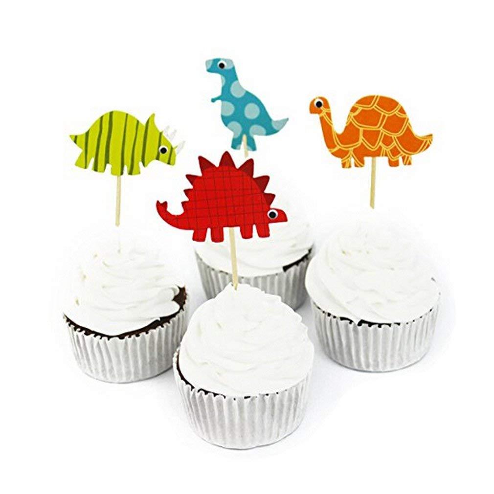 Xeminor Premium 24pcs Dinosaur Cake Toppers Cupcake Picks Party Cake Decoration