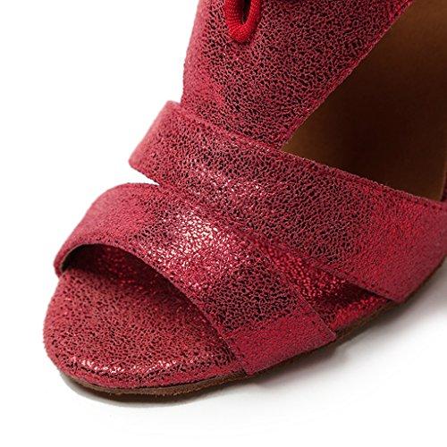 Crc Mujer's Stylish Peep Toe Cordones De Cuero Rojo Salón Morden Salsa Latin Tango Party Wedding Zapatos De Baile Profesionales Rojo