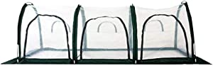 Garden Plant Tent,FOME PE Plant Tunnel Waterproof Greenhouse for Plants Outdoor Portable Greenhouses with Three Zipper Doors Backyard Flower Shelter 118x39.4x39.4in