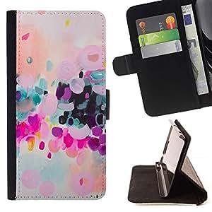 Momo Phone Case / Flip Funda de Cuero Case Cover - Colorido Moderno púrpura Arte - Samsung Galaxy J3 GSM-J300