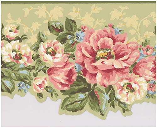 Green Floral Wallpaper Border - Pink White Flowers Sage Green Floral Wallpaper Border Retro Design, Roll 15' x 7''