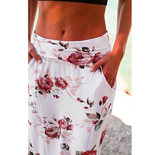 Longue Jupe Floral Summer Femmes Blanc conqueror Beach Jupe Imprime Taille Basse xX68nnwW