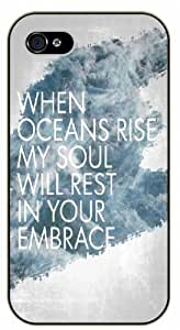 When ocean rise my soul will rest in your embrace - Bible verse iPhone 4 / 4s black plastic case / Christian Verses