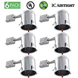 Sunco Lighting 6 PACK - 6'' inch Remodel LED Can Air Tight IC Housing LED Recessed Lighting- UL Listed and Title 24 Certified, TP24