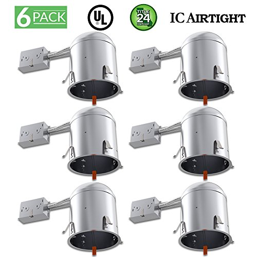 Sunco Lighting 6 Pack 6 Inch Remodel LED Light Can Air Tight IC Housing, Recessed Lights, LED Downlight, For Retrofit Kit, Electrician Prefered - UL Listed and Title 24 Certified (TP24) by Sunco Lighting
