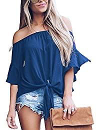 61efc598f13e9 Womens Solid Tube Ruffle Short Sleeve Tee Tops Ladies Summer Blouse Tunics  Large Blue