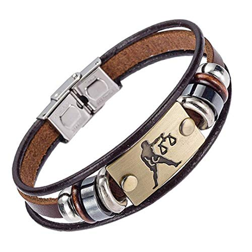 - Europe 12 Zodiac Signs Bracelet With Stainless Steel Clasp Leather Bracelet For Men 7