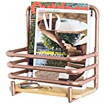 MyGift Copper-Tone Metal Pipe Wall-Mounted Magazine Shelf with Wooden Shelf