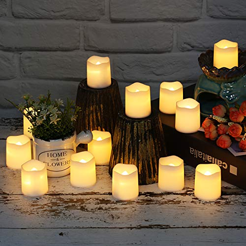 SHYMERY Flameless Votive Candles,Realistic & Bright Flickering Bulb Battery Operated Votive LED Tea Lights Candles For Wedding,Table,Outdoor,Festival Celebration (12 Pack)
