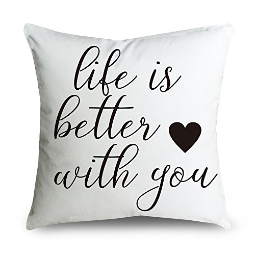 Price comparison product image FabricMCC Throw Pillow Cover 18 Inch Quote Words Square Decorative Linen Cushion Cover Throw Pillowcase for Couch (life is better)